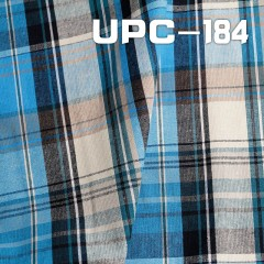 "UPC-184  湖兰/克/浅黄色织格子   55/56"" 161g/m2"