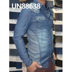 【牛仔服装供应】全棉精梳條子牛仔上衣 UN88638