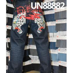 【牛仔裤供应】全棉(白/黃/白)色邊牛仔裤 UN88882
