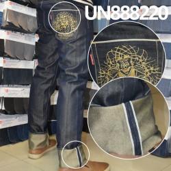 【牛仔裤供应】涤棉染色直竹红边牛仔裤 UN888220