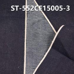 """ST-552CE15005-3 亚麻棉横直竹节4片右斜色边牛仔  12.69OZ 36/37"""""""