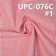 """全棉条纹色织布 279g/m2 57/58"""" 纯棉条纹布 红白相间 全棉红色条纹色织布 UPC-076C"""