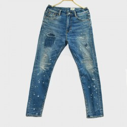 【自家牛仔】 威络 时尚破洞斑点水洗牛仔布 牛仔修身直筒长裤 WIROTE